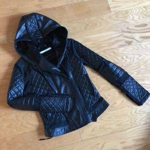 Blanc Noir Voyage Leather &Mesh Hooded Moto Jacket